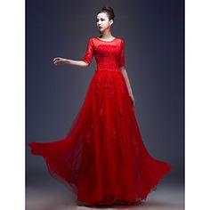 A-line/Princess Jewel Floor-length Tulle Evening Dress (LF233) – USD $ 89.69