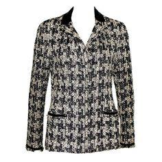 85c2ea5c7e5 Chanel Frayed Tweed Maison Lesage Leather Jacket