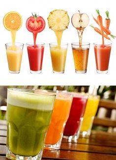 Limão com gengibre e tomate com pimenta: acelera a perda de peso. Laranja com linhaça e cenoura com limão: sacia e desintoxica. Abacaxi com maçã e gengibre: acelera o metabolismo. Suco de berinjela: ajuda a emagrecer. Abacate com maçã e maçã com kiwi: inibidor de apetite natural. Melancia com abacaxi: é diurética e antioxidante. Suco verde: ajuda no emagrecimento, desintoxicante e rejuvenescedor.