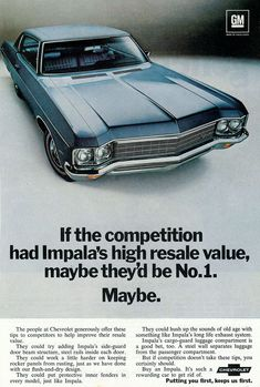 What a clever advertisement by #Chevrolet for this 1970 #Impala