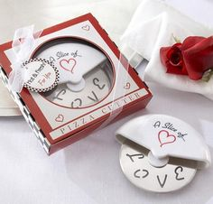 A Slice of Love Stainless-Steel Pizza Cutter - a perfect favor for a Valentine's Day Wedding.