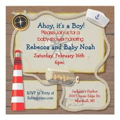 free template for a nautical baby shower invitation - Google Search