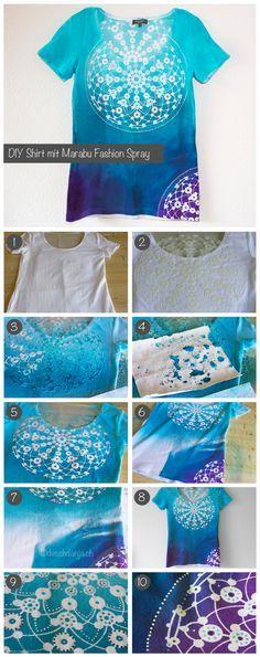 DIY Marabu Fashion Spray gebruik een leuk sjabloon voor mooie patronen