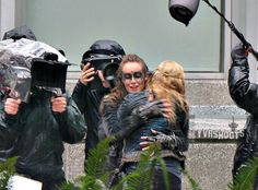 Eliza Taylor, Alycia Debnam-Carey -  Clarke Griffin, Lexa the great #The100 shooting a weird ass scene in Vancouver, 01/22/2016 for what is believed to be season 3 finale, Everyone In Future Wears Trench Coats