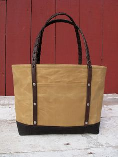 Waxed Canvas Tote Bag, Recycled Horse Tack, Waxed Canvas Bag, Waxed Canvas Purse by MCtextileDesigns on Etsy