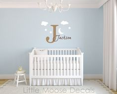Children Wall Decal Baby Name Monogram Vinyl - Nursery Decals Letter Child Clouds Stars Moon Sky. $37.00, via Etsy.