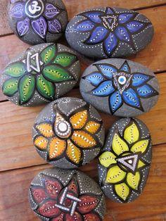 Lotus Stone Chakra Series of 7 hand painted river sea rock Pebble Painting, Dot Painting, Pebble Art, Stone Painting, Chakra Painting, Stone Crafts, Rock Crafts, Arts And Crafts, Hand Painted Rocks