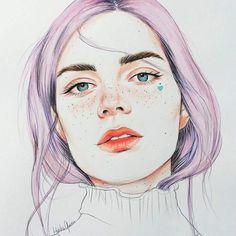 Art Inspiration: Female portrait, illustration by Habiba Green. Art And Illustration, Portrait Illustration, Kunst Inspo, Art Inspo, Watercolor Portraits, Watercolor Art, Art Sketches, Art Drawings, Arte Sketchbook