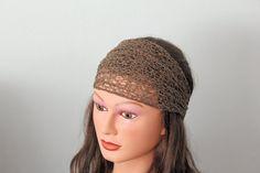 brown Stretchy Wide Lace Headband Yoga headband Hair band Turban head scarf Head wrap bandana via Etsy