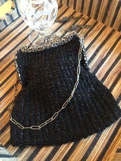 Black beaded vintage handbag