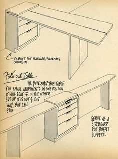 Nomadic Furniture 1 nice make into a sewing station for the area used and when not so used just as a side table Folding Furniture, Space Saving Furniture, Diy Furniture, Furniture Design, Modular Furniture, Furniture Storage, Sideboard Furniture, Coaster Furniture, French Furniture