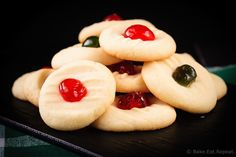 Whipped Shortbread - These light and sweet whipped shortbread cookies, with a cherry on top, are so quick and easy to make. Christmas cookie perfection.