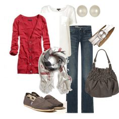 Red cardi with gray accessories