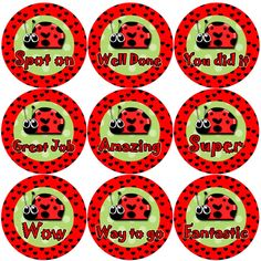 144 Lovely Ladybirds Children's Reward Stickers for Teachers, Parents or Party Bags Reward Stickers, Teacher Stickers, Personalized Stationary, Reward System, Motivational Messages, Cellophane Bags, Child Life, Party Bags, School Classroom