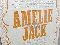 Modern wedding invitations letterpress - Amelie Suite  Spark Letterpress www.letterpresslove.com