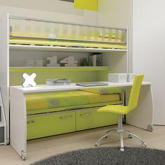 """#Arredamento #Cameretta Moretti Compact: Collezione 2012 """"Team"""" > Kids – Soluzione a #Soppalco >> ks32 #letti #scrivania http://www.moretticompact.it/kids.htm"""