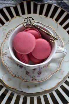 Macarons and key in teacup for Mad Tea Party! | homeiswheretheboatis.net #aliceinwonderland #pottingshed