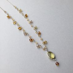 "Autumn Inspired- 30"" Citrine Layering Necklace with Lemon Quartz focal pendant.  All metal components in sterling silver. ( $65) #novemberbirthstone #gemstonenecklace #citrine"