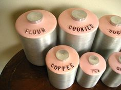 Vintage 6pc Pink Brushed Metal Tin Canister Set by Kromex