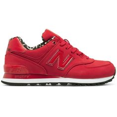 New Balance High Roller 574 Women's 574 Shoes ($75) ❤ liked on Polyvore featuring shoes, athletic shoes, red, new balance, new balance footwear, red retro shoes, leopard shoes and red leopard shoes