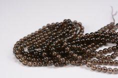 natural smoky quartz round beads - smoky quartz stone - smokey quartz gemstone beads - brown smooth round beads -4mm-14mm -15inch