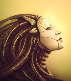 Alien-Terminator,Future, Cyborg, Futuristic, Cyborg Head,  Android, Cyber Girl, Cyberpunk ART
