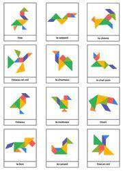 Modèles d'animaux pour jeu tangram à imprimer gratuitement