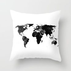 Black watercolor world map Throw Pillow