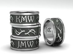 Custom Initial ring with Antlers by www.duckbandbrand.com
