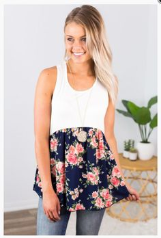"""Shop new arrivals at Beautique! Use the code """"aubree10"""" at checkout and get 10% off your order every time you purchase!  #summer #summerfashion #tanktop #shopsmall #floral #babydoll #womens fashion Online Boutiques, Baby Dolls, Racerback Tank, Ivory, Trendy Fashion, Denim, Dolls, Trending Fashion, Jeans Pants"""