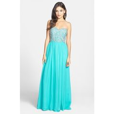 Women's Sean Collection Embellished Strapless Silk Gown (460 AUD) ❤ liked on Polyvore featuring dresses, gowns, dark aqua, embellished dresses, strapless sweetheart dress, aqua dresses, strapless evening gown and strapless ball gown