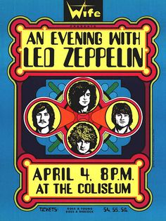 Led Zeppelin - April 1970 - The Coliseum - Concert Poster Led Zeppelin Tour, Led Zeppelin Poster, Led Zeppelin Concert, Led Zeppelin Live, Robert Plant, El Rock And Roll, Rock And Roll Bands, Tour Posters, Band Posters