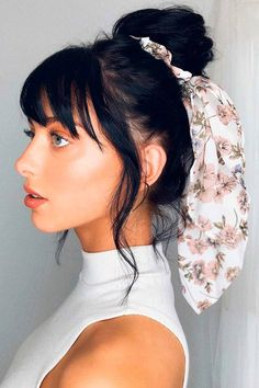 Messy High Bun With Headscarf ❤ Don't believe that you can get a stunning hair bun for short hair? See how many cool updos you can create! Your short locks are not an obstacle. #hairbunforshorthair #lovehairstyles #hair #hairstyles #haircuts