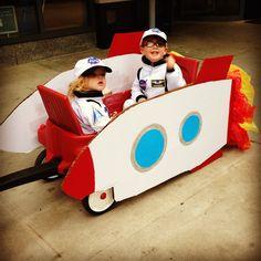 kids DIY Halloween costume rocketship and astronauts