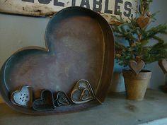 Antique Primitive Heart Tin Mold