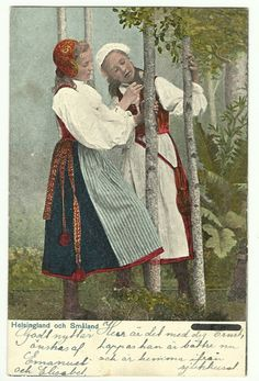 Sweden Store - vintage and more Sweden postcard WOMEN Folk Costumes Helsingland Smaland - A postcard with two women dressed in Folk Costumes from Helsingland and Smaland. Vintage Postcards, Vintage Items, Folk Costume, Costumes, Swedish American, Folklore, Photo Cards, Girl Dolls, Scandinavian
