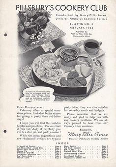 Pillsbury's Cookery Club Bulletin No. 5 February 1935 Pot Luck Dinners Pies Cookies Meringue Recipes
