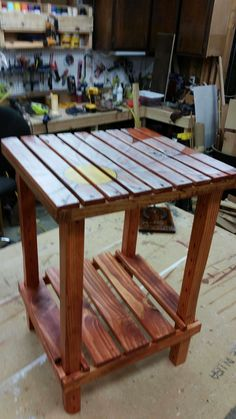 I made this for my daughter originally for her gazebo, but she liked it so much she put in her living room.  #OutdoorDecksAndPatios, #PalletEndTable, #PalletTable, #RecyclingWoodPallets, #SideTable