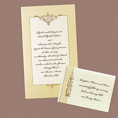 Taupe Shimmer Border with Filigree Accent  A shimmering taupe border wraps around your wording on this non-folding invitation. A brown filigree accent adorns the top and bottom of the frame.