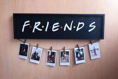 Friends TV Show Wood Picture Sign - Black & Colored Dots / Polaroid Wall Decor . Friends TV Show Wood Picture Sign - Black & Colored Dots / Polaroid Wall Decor . Photo Polaroid, Polaroid Wall, Polaroid Display, Polaroid Pictures Display, Polaroid Ideas, Hang Pictures, Polaroid Camera, Room Pictures, Fujifilm Instax Mini