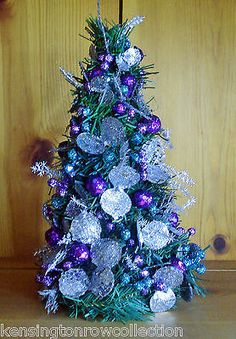 miniature decorated christmas tree teal purple silver