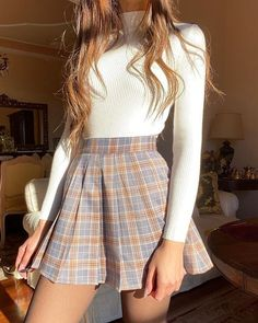 Cute Casual Outfits, Girly Outfits, Mode Outfits, Retro Outfits, Stylish Outfits, Cute Outfits With Skirts, Plaid Skirt Outfits, Sweater Skirt Outfit, Plaid Skirts