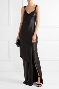 Jason Wu - Crepe-paneled Silk-satin Gown - Charcoal - US0