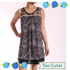 DARLING BLACK & WHITE DRESS WITH GATHERED STRAPS So cute! Has black hem at bottom for detail, multi straps add to the creative touches of this dress. 100% polyester. tla2 Dresses