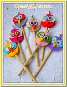 Pencils with creative owls at the top!