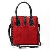 Leather Jute Textured Handbag