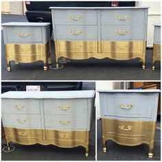 French Provincial Grey and Gold dipped bedroom set by SimonSaysSalvage on Etsy https://www.etsy.com/listing/223567880/french-provincial-grey-and-gold-dipped