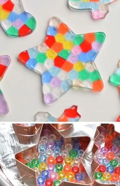 These melted bead ornaments are SO BEAUTIFUL! And they're so easy to make with pony beads! You can hang them on the Christmas tree, or use suction cup hooks on the window to turn them into sun catchers. for kids Melted Bead Ornaments Beaded Christmas Ornaments, Easy Christmas Crafts, Handmade Christmas, Christmas Fun, Diy Christmas Gifts Videos, Christmas Crafts For Kids To Make At School, Kid Made Christmas Gifts, Christmas Tree Decorations For Kids, School Age Crafts