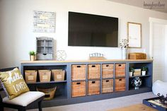 Kitchen Living Room See 20 of the best Ikea Kallax Hacks ideas and the different ways you can DIY them for your home. The Ikea Kallax is the perfect storage solution for the living room, it makes great tv stands! - See The Best Ikea Kallax Hacks Ikea Kallax Hack, Etagere Kallax Ikea, Kallax Shelf, Ikea Sideboard Hack, Kallax Desk, Expedit Bookcase, Lack Shelf, Bookcases, Credenza