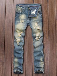 Five-Pocket Zipper Fly Straight Leg Ripped Jeans - Deep Blue - 33 - DEEP BLUE 33